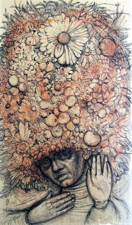 Frau mit Hut aus Blumen und Früchten