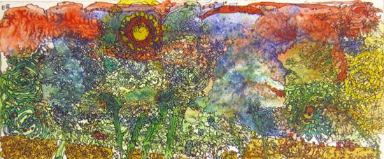 o.T. (Landschaft mit Sonne)