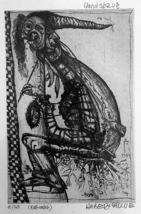 o.T. (der Maler als groteske Figur)