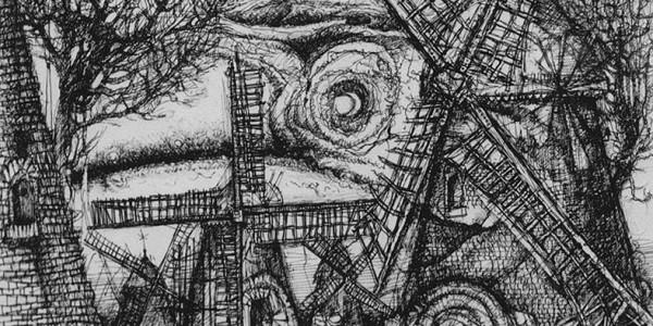o.T. (Landschaft mit Mühlen)