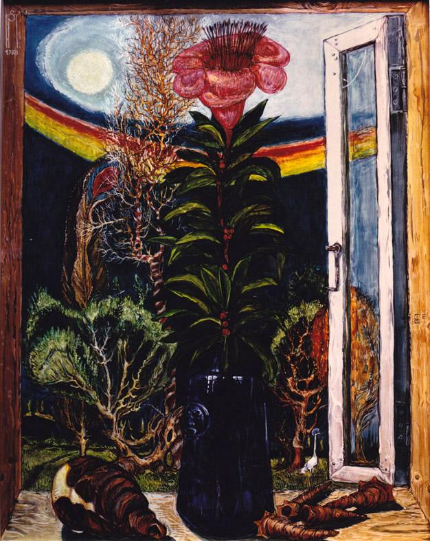 Fenster mit Blume und Muscheln
