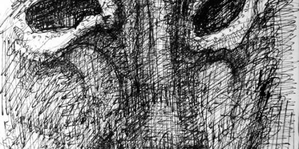 o.T. (Kopf mit schwarzen Augen)