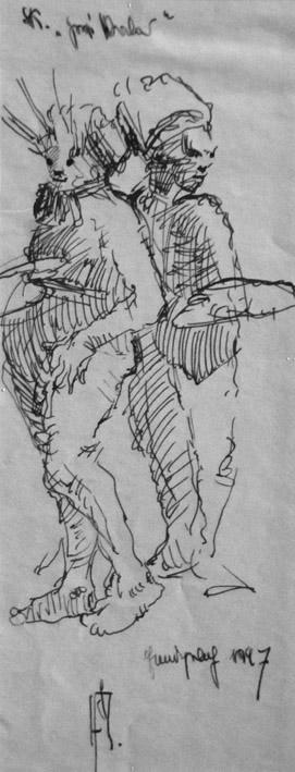 Skizzenblatt (zwei Figuren)