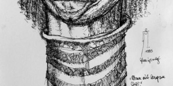 Mann mit langem Hals