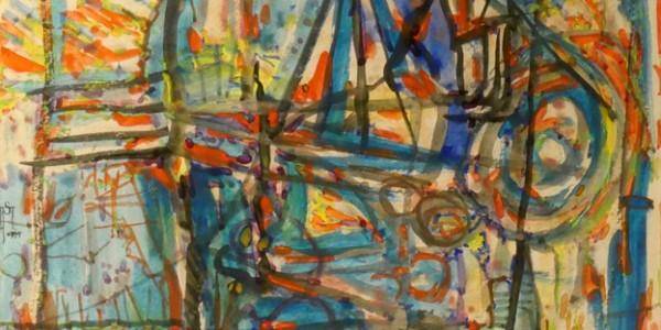 o.T. (abstrakte Komposition mit Haus)