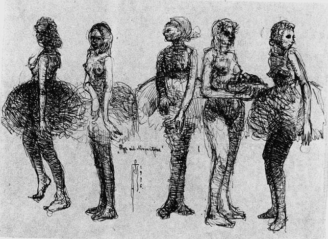 Skizze mit Tänzerinnen