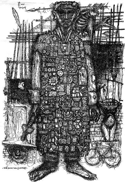 Mann, der eine Ordensjacke trägt