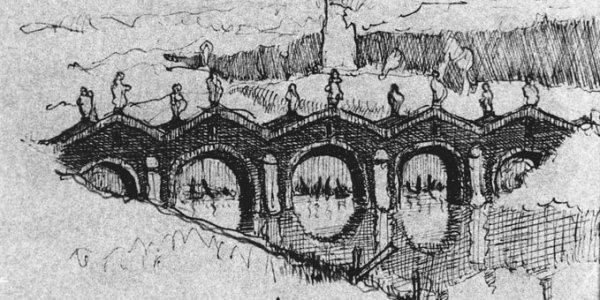 Skizze zu einer Brücke mit Figuren