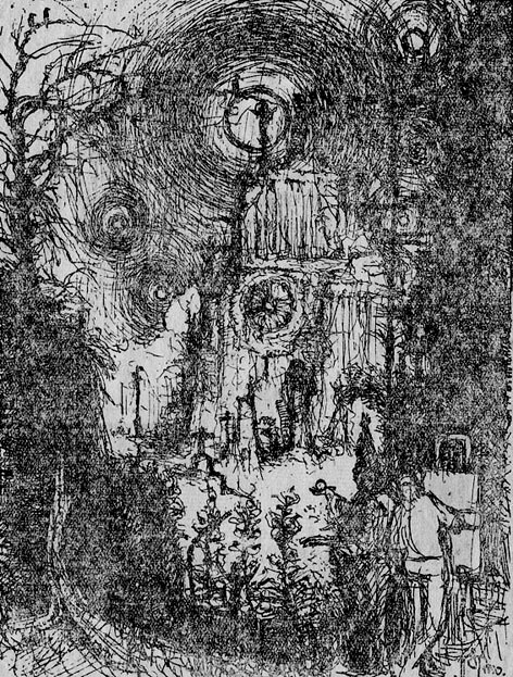 o.T. (Maler vor einer Kirche)