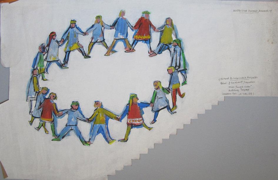 Tanzende Kinder (Entwurf für eine Wandgestaltung)