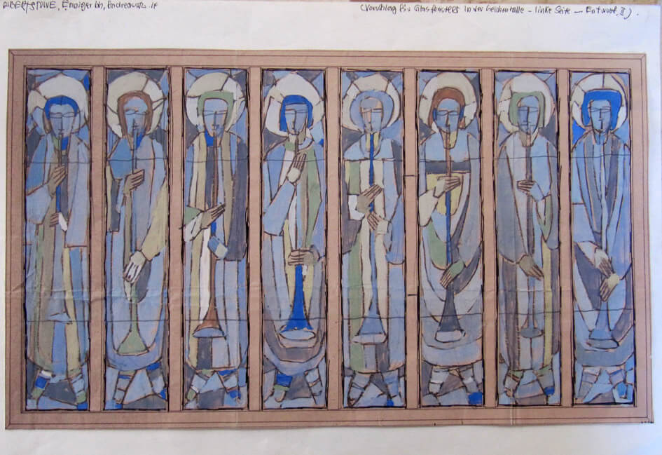 Musizierende Engel (Entwurf für ein Glasfenster)