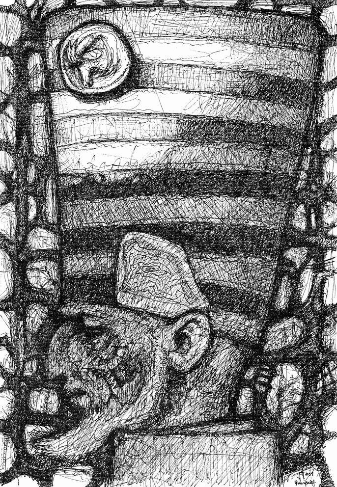 Mann, der einen gestreiften Hut trägt