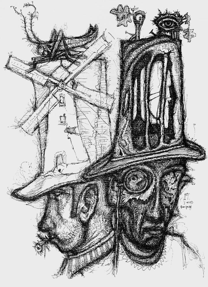 Zwei Männer mit grotesken Zylindern