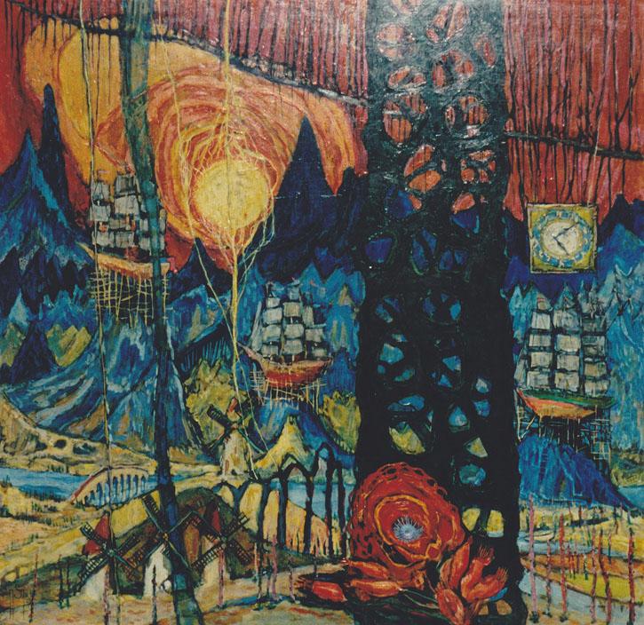 Landschaft mit Segelschiffen