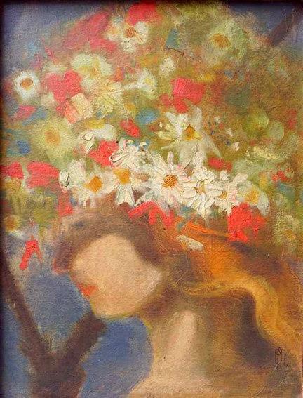 Mädchen mit Blumenschmuck
